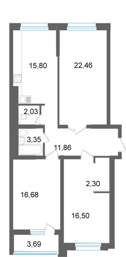 3-к квартира в квартале Энтузиастов