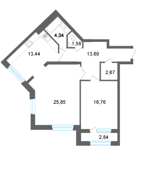 2-к квартира в Квартале Энтузиастов