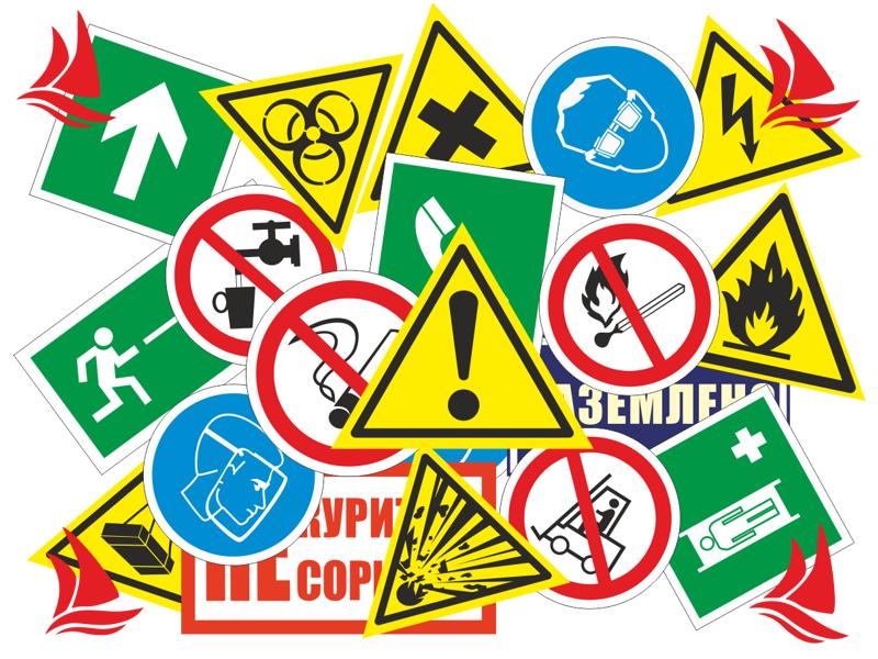 Запрещающие знаки. Таблички по охране труда.