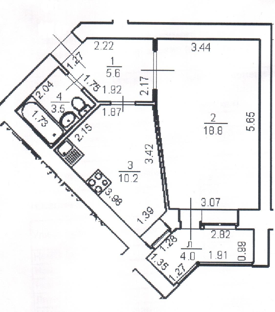 Однокомнатная квартира 40.1 кв.м.