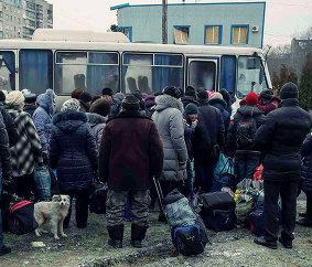 Эвакуация людей из Дебальцево.