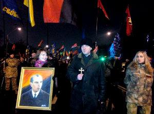 В столице Украины  прошло ежегодное шествие почитателей Степана Бандеры.
